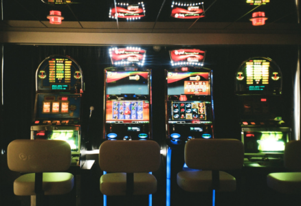 Casino with Slot Machines in corner