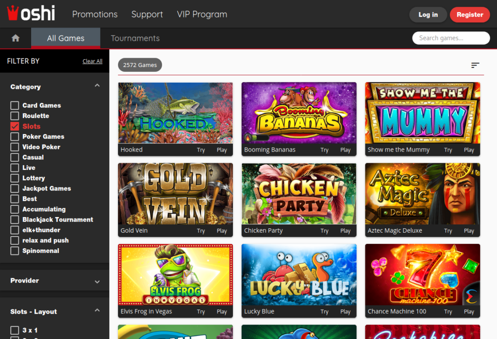 oshi casino review – slots overview